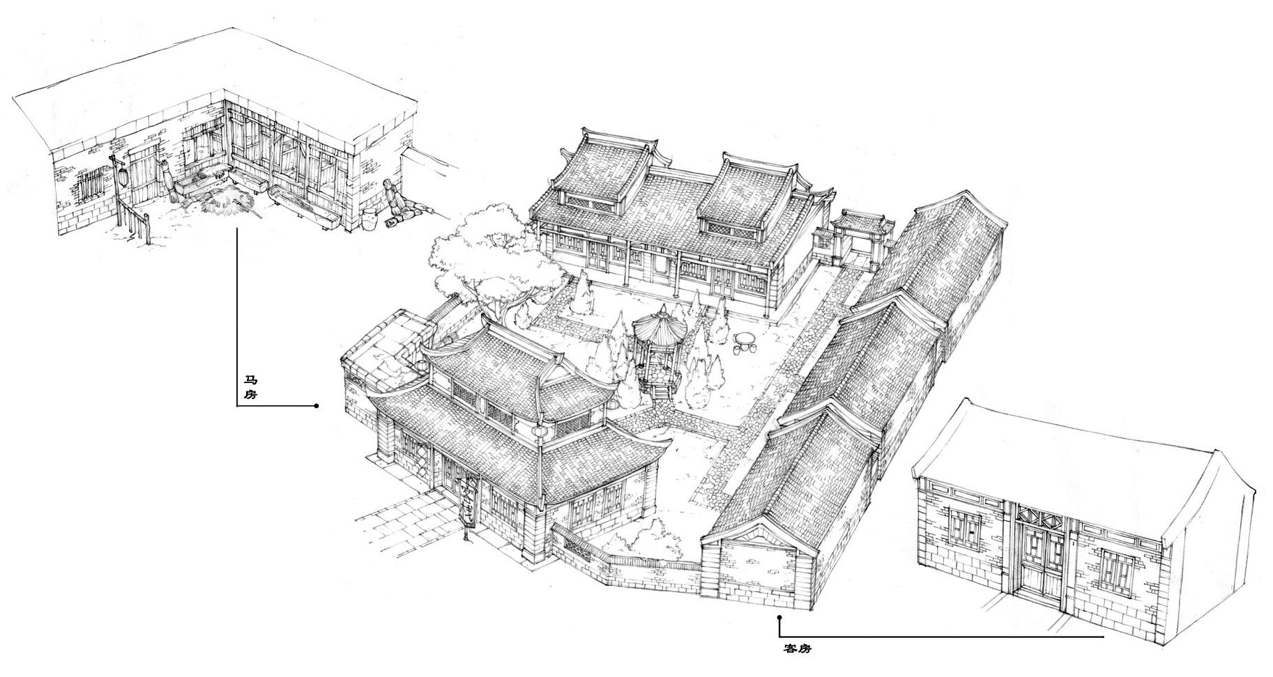 安陆客栈线稿:传统的高砖瓦房,布局考究,画工精细.(点击放大)