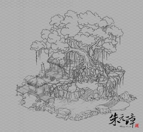 树平面图手绘线稿