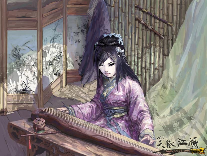 原创:笑傲江湖ol玩家手绘漫画(第二期); 笑傲江湖专业组; 绿竹巷抚琴