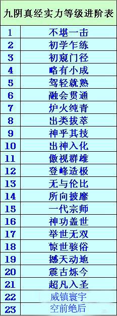 九阴真经实力等级进阶表详情