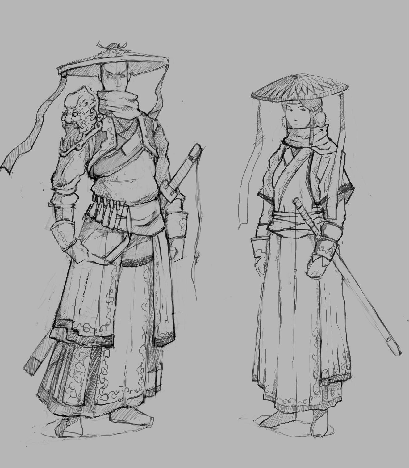 小涛手绘:精美的刀剑2npc人物线稿图