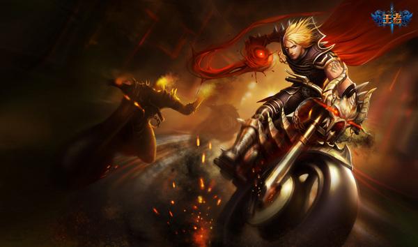皮肤 英雄/吸血鬼这张皮肤里,吸血鬼身后的摩托骑士分别是火男和酒桶