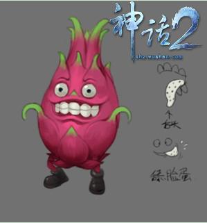 贱 水果  (299x321); 色彩鲜艳的火龙果,恶心的长舌头舔来舔去 创意萌图片