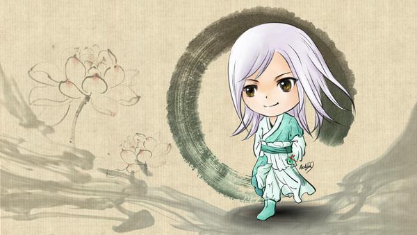 q版荷塘夏月时装手绘图