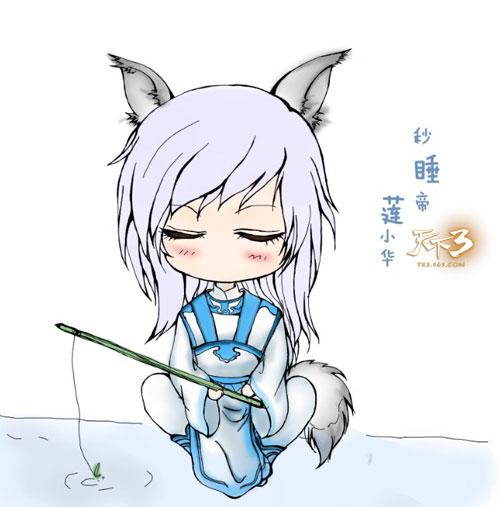 手绘:小狐狸爱钓鱼