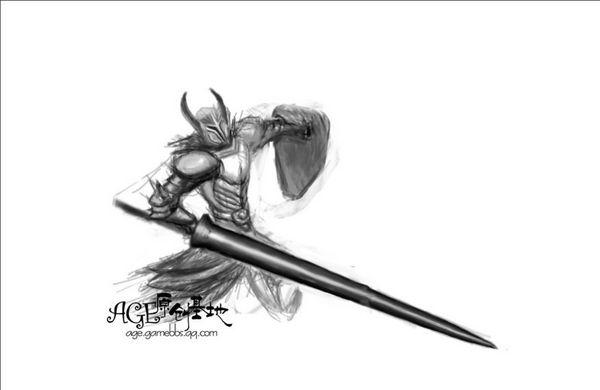 上古世纪玩家手绘素描系原画 战士的怒嚎