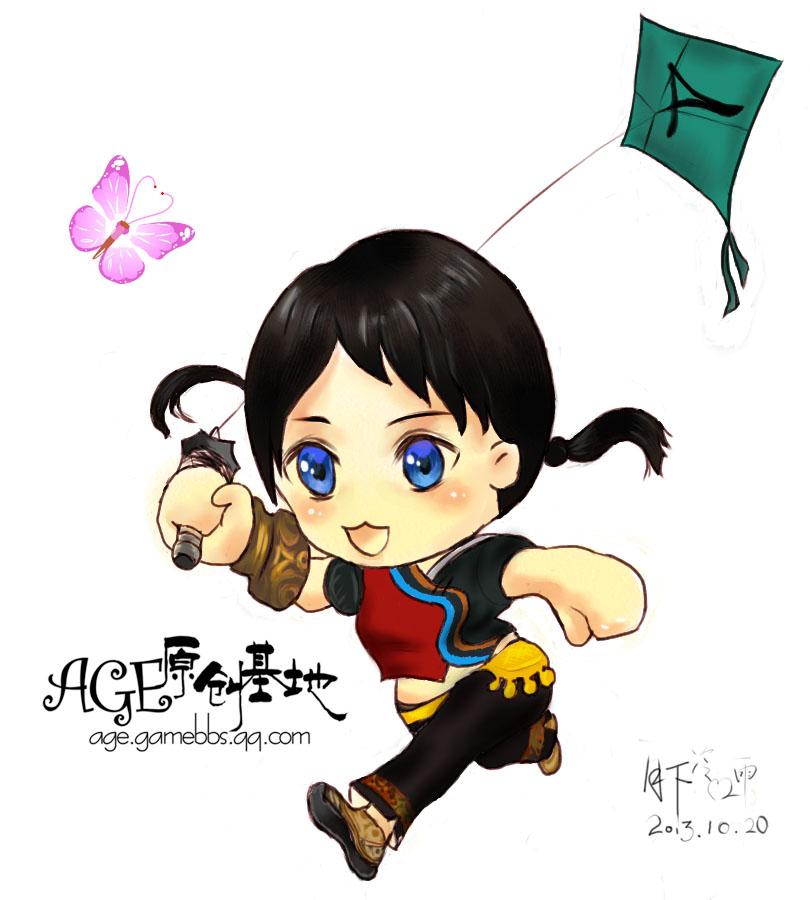上古世纪玩家手绘 放风筝的哈里兰小姑娘图片