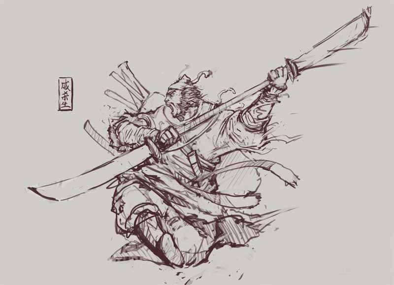 小涛手绘漫画:刀剑2群侠之戚杀生线稿