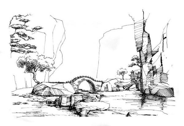 玩家原创剑网3钢笔画风景; 大唐的黑白印象 玩家原创剑网3钢笔画风景
