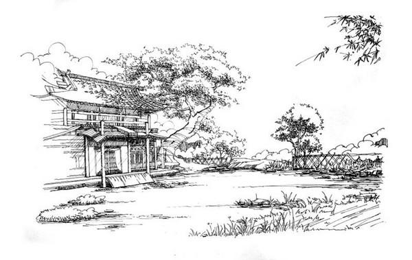 玩家原创剑网3钢笔画风景; 风景黑白画图片大全_谁有钢笔风景画,黑白