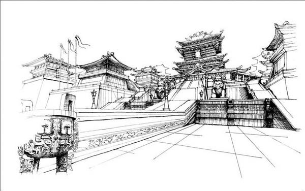 玩家原创剑网3钢笔画风景