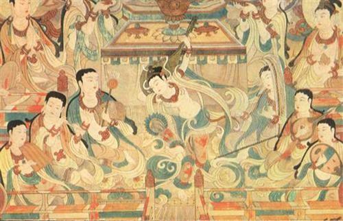 敦煌壁画上清楚记录着菩萨聚会畅饮的形象图片