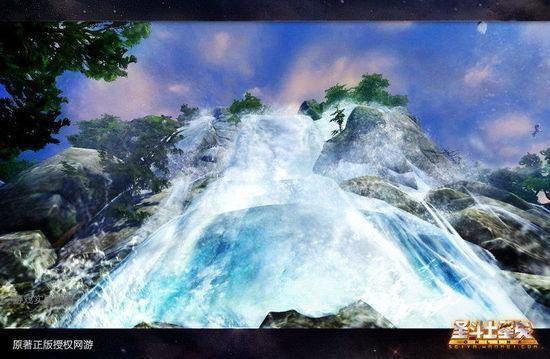 黄金不删档内测时期 庐山瀑布将动感清澈 具备真实流水反光效果