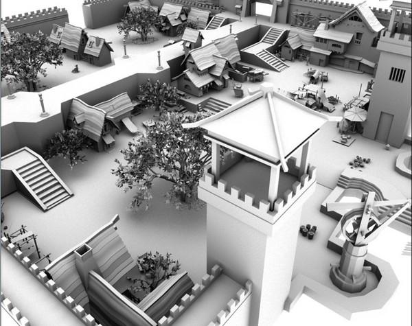 无聊用maya做了桃园商业区的场景 高清图片