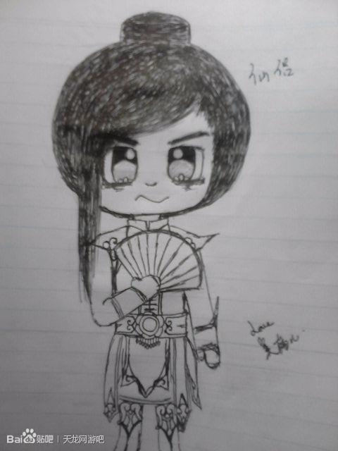 天龙八部有才学生妹铅笔手绘q版人物时装