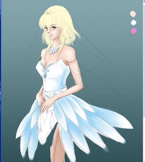 天龙时装婚纱系列 达人手绘仙羽凝月婚纱全过程