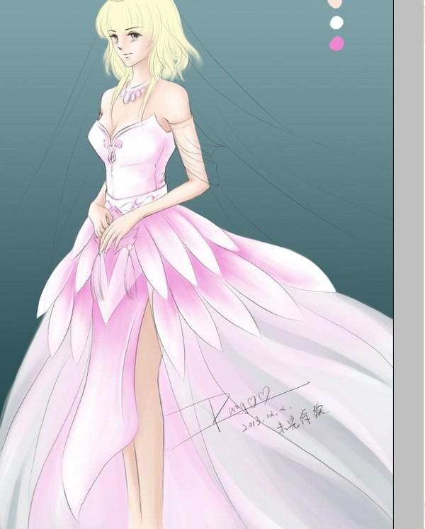婚纱/好像粉色和淡紫色看上去比较不错~~~