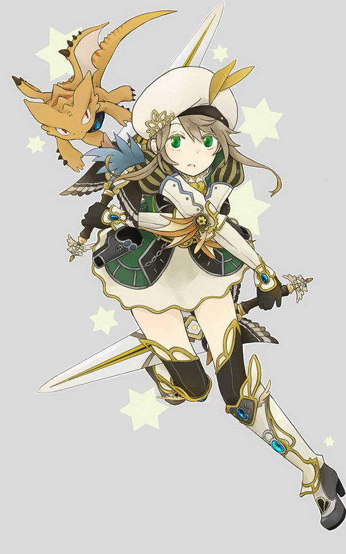 ホノメ绘制的双刀女主角和源神烛龙