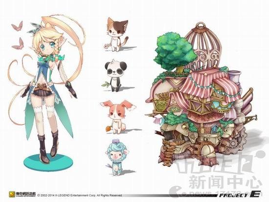 《Project E》宠物小队齐心冒险 目前3款手机游戏正在开发中,预计2014年陆续在台湾地区及海外市场上线。官方表示,在手机游戏方面期望能打造出传奇网络游戏代表的游戏类型,第一款手游新作最快在第一季登场。