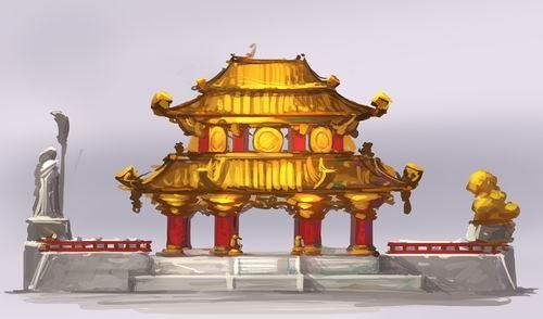 原画描绘了熊猫人之谜资料片中的一些宫殿建筑的设计,其中大多可以在图片