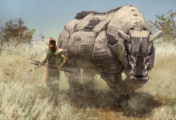科幻画家笔下机械化非洲草原动物概念画欣赏