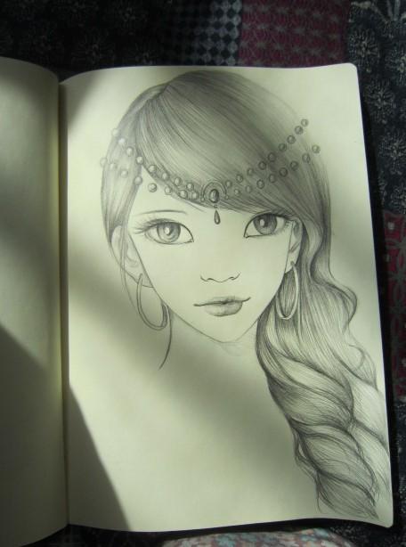四格手绘 > 天龙八部玩家铅笔手绘:发型之绝代(女)   那么这次给女版
