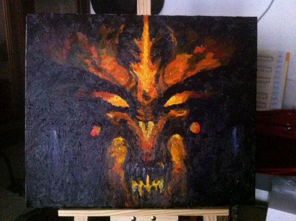 暗黑3玩家作品:迪亚布罗的油画
