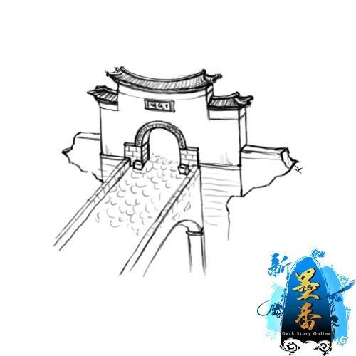 手绘寺庙建筑矢量