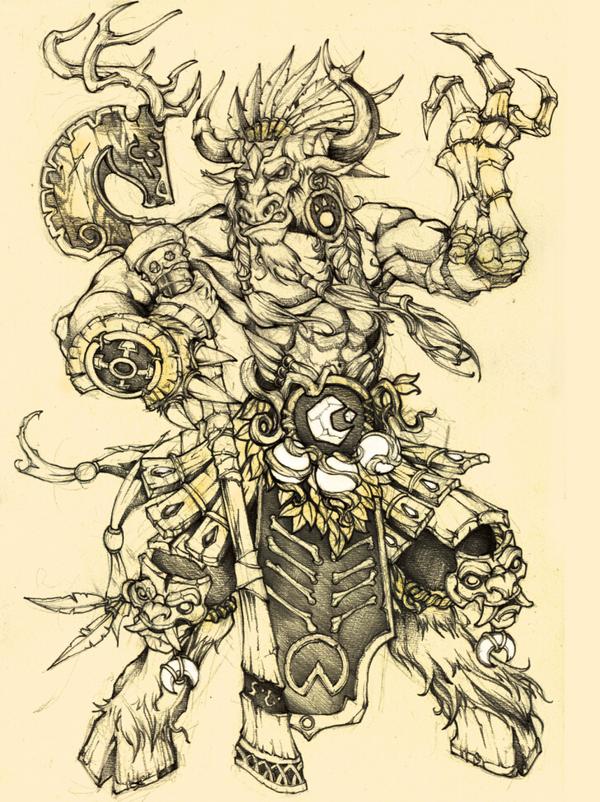 魔兽世界玩家画作:手绘 亡灵术士与牛头小德