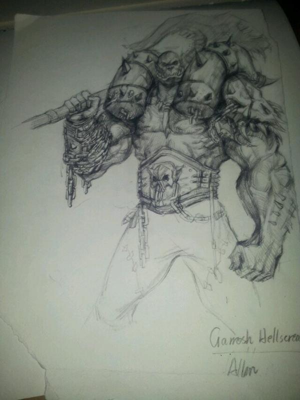 魔兽大神玩家铅笔画作品:布洛克斯霸气侧露