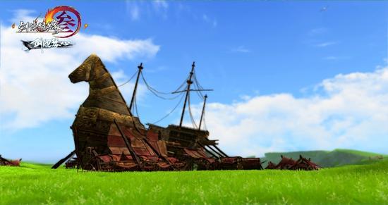 古老战船改成的集市