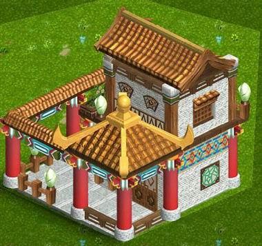 中式的阁楼庭院,古色古香,一看就是个大户人家.