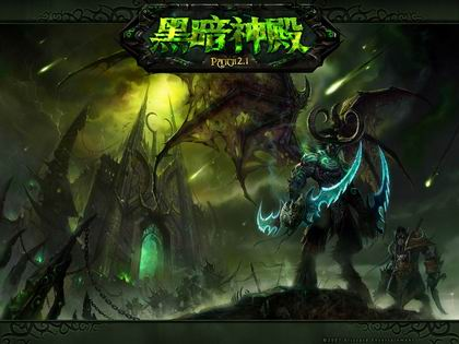 壁纸 伊利丹/惨绿的阴云笼罩在影月谷的上空,地狱火落下的地方有一座神殿...