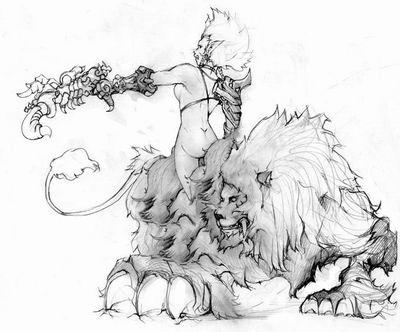 魔兽世界玩家手绘 战斗在外域的部落
