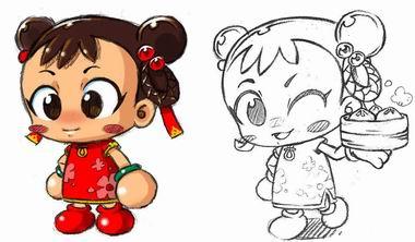 中国娃娃拜年 简笔画