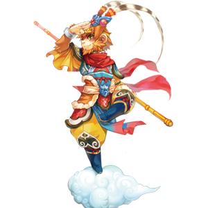 游戏中的齐天大圣孙悟空更加的精神,手舞金箍棒,脚踩筋斗云,独立远眺